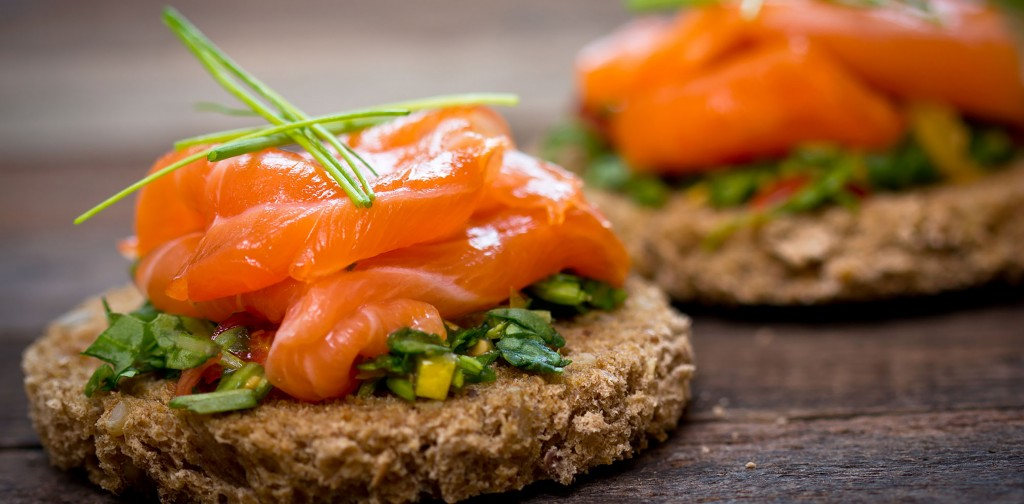 Canapes with smoked salmon and herbs