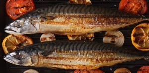 Grilled Mackerel Fish On The Grill Closeup Horizontal Top View